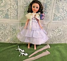 "Vintage 14"" American Character Toni Doll Brunette 1958 Dress Fur Corsage Shoes"