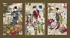 """Pre-cut Panel Kona Bay Nobu Fujiyama Geisha Charm, 23"""" x 43"""" Cream/Grey w/Gold"""