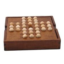 Solitaire  Rectangle Wood Game Board With 32 Wooden Balls Pre-Owned  YI
