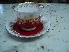 ROYAL ALBERT  ENGLAND CHINA 4396 CUP AND SAUCER RED GOLD GILT VINTAGE