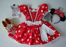 NWT Disney Minnie Mouse M 7-8 Red Costume Dress Ears Headband Gloves Shoes +