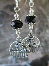 Silver Kitten Cat in Basket Black Cut Crystal Beads Handcrafted Artisan Earrings