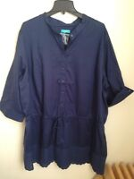 CALYPSO St Barth NAVY TUNIC BLOUSE SHIRT TOP Dress EYELET TRIM  Plus Size 2x New