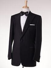 NWT $7095 BRIONI Black Peak Lapel Dual Vent Wool Tuxedo 46 L Grosgrain Trim