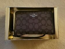 New in Box Coach 55920B Zip Around Wallet Organizer in Signature Jacquard Black