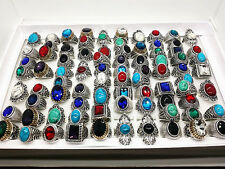 wholesale bulk lots 50pcs/pack women's retro stone jewelry rings mixed styles