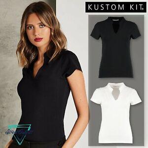 Womens Corporate V-Neck Top Kustom Kit Business T-Shirt Mandarin Collar