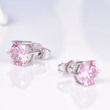 8mm Stunning New Charm Pink Swarovski Crystal Women Silver GF Tiny Stud Earrings