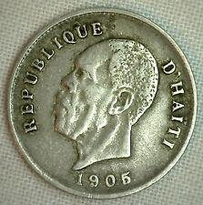 1905 Haiti 5 Centimes K#53 Copper Nickel YG World Coin