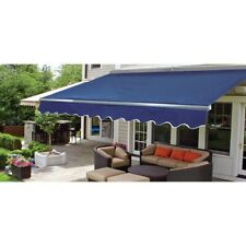 ALEKO Sunshade Half Cassette Retractable Patio Deck Awning 10x8 ft Blue color