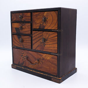 Antique Japanese Yosegi Zaiku Marquetry Jewellery Cabinet / Box / Chest. 19.5 cm