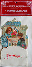 VICTORIAN GIRL & BOY 3D GREETING CARD Stand up to display HTF NOS Shackman