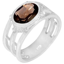 2.5cts Smoky Quartz 925 Sterling Silver Ring Jewelry s.7 R5168S-7