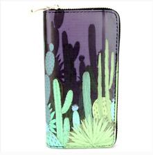 Black Cactus Print Fun Cute Unique Zipper Wallet