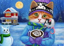 Kitten cat mouse hot chocolate winter moon Christmas OE ACEO print of painting