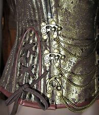 "Steampunk Steel boned Brocade Antique Gold & Brown Corset 30""W"