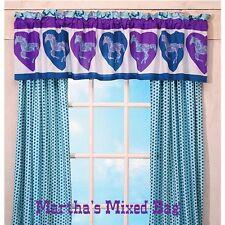 "Girls WESTERN PONY HORSE Blue Purple Polka-Dots Window Curtain DRAPES 84""x84"""