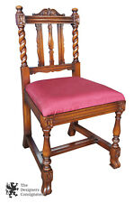 Robert Irwin Furniture Co. Antique Jacobean Revival Walnut Bedside Accent Chair