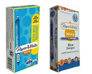 Paper Mate Inkjoy Ballpoint Pen 12 Pack Blue 2 Designs Retractable Fine 300RT