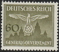 Stamp Germany Poland General Gov't Official Mi 34 Sc NO34 1943 WW2 Emblem MNH
