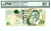 BAHAMAS $1 DOLLAR 2008 BAHAMAS CENTRAL BANK GEM UNC PICK 71 VALUE $132