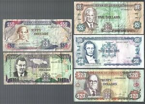 Jamaica ✨ $1, 2, 5, 10, 20, 50, 100 🎆 7 banknotes ✨ Collections & Lots #1235