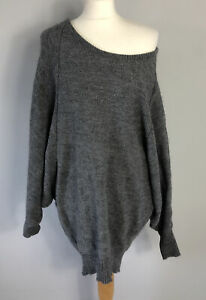 NEXT Size S Small 6 8 10 Grey Slouch Jumper Alpaca Wool Mix Ladies Spring Autumn