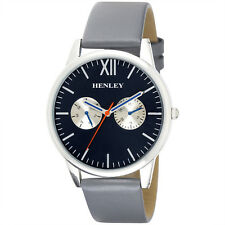 Henley Gents Real Leather Grey Strap Watch, Slim Curved Lens Dk Blue Black Dial
