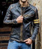 Men's Motorcycle Biker Vintage Cafe Racer Distressed Black Real Leather Jacket