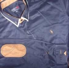 """Polo by Ralph Lauren navy blue shirt w. brown """"leather"""" elbow and collar details"""