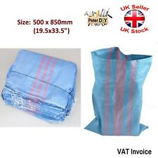 More details for woven blue bag large heavy duty rubble sand sacks polypropylene 50x85cm 25-30kg