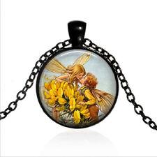 Fairy Romance Black Glass Cabochon Necklace chain Pendant Wholesale
