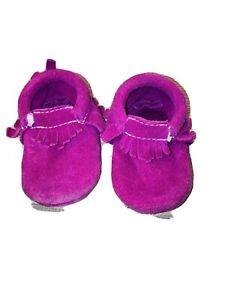 Freshly Picked Moccasins Mini Soles  Fuschia Suede - Size 3