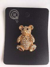 Cute Teddy Bear Diamante Crystal Brooch Gold metal Gift  *NEW*