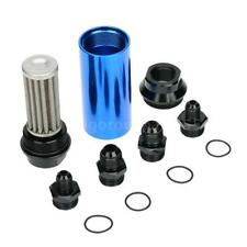 44mm Car Fuel Filter Outlet Flow Filter + AN6 AN8 Adaptor Universal Blue I0P4