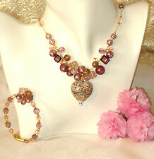 Murano Glass Necklace & Free Bracelet Caviar Heart Rose  Italian by Insignia