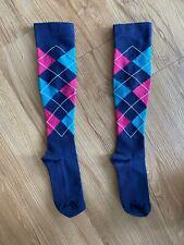 Runner Compression Socks - Women, Argyle - Blue, Pink, Teal