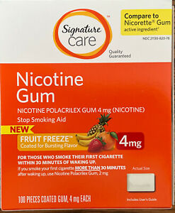Nicotine Gum 4 Mg 100 Ct Fruit Freeze Flavor Compared to Nicorette ~ New in Box