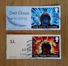 Complete used GB stamp label set - 2018 Game of Thrones