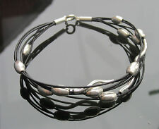Real Leather Cord Bracelet with 925 Sterling Silver Clasp and Beads
