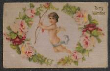 VALENTINE HOLIDAY ANGEL BOW & ARROW SILK NOVELTY POSTCARD 1908