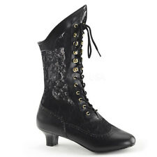 Victorian Steampunk Bridal Pioneer Witch Burlesque Black Lace Up Boots