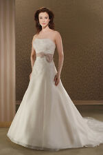 Antique Dark Cafe Platinum Bonny organza country chic wedding gown dress size 12