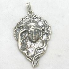 Vintage Art Nouveau Pendant 925 Sterling Silver Fairy Peacock