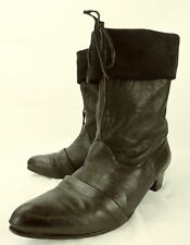 Salpy Wos Boots Ankle US 8.5 Black Leather Suede Fold Over Pull On Lace USA 1836