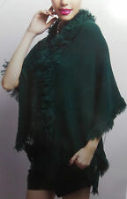 Womens Ladies New Chunky Wooly FUR Edge Tassle Shawl/Poncho/Cardigan ONESIZE1198