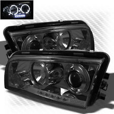 For Smoked 06-10 Dodge Charger Twin Halo LED Pro Headlights Sm Head Lights