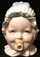 Antique Vintage Majolica Pacifier Baby Head Tobacco Humidor Jar