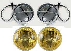 NEW! 1965 - 1966 - 1967 Mustang GT Fog Light Lamps Housings Amber Bulbs Set of 2