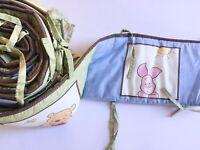 Disney Winnie the Pooh and Friends Padded Reversible Crib Bumper Unisex Nursery